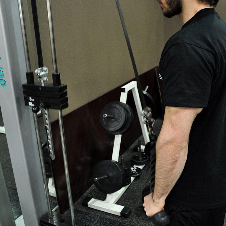 Extension triceps poulie haute à la corde – Extension des avant-bras