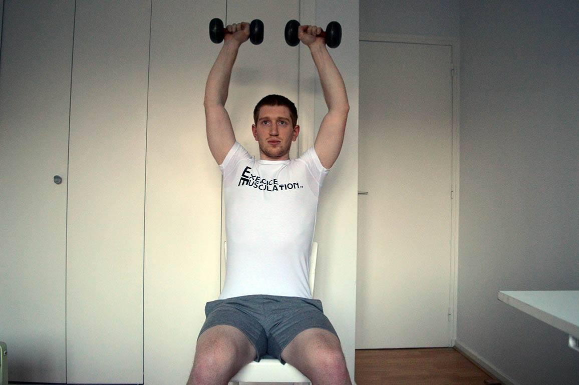 Programme musculation maison pour débutant - Développé assis 2
