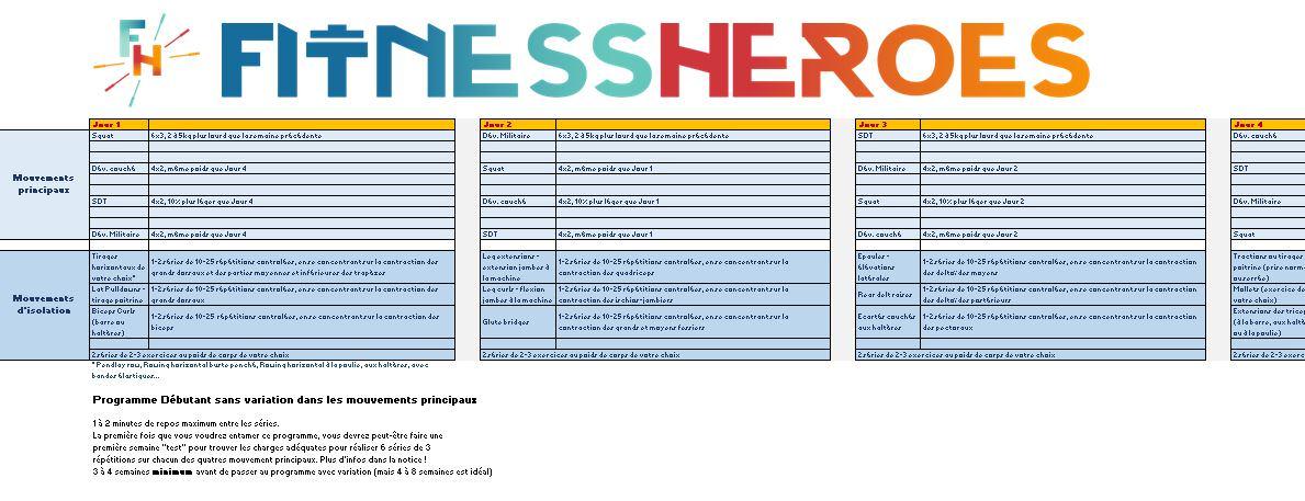Relativ Programme musculation débutant - Fitness Heroes LH91