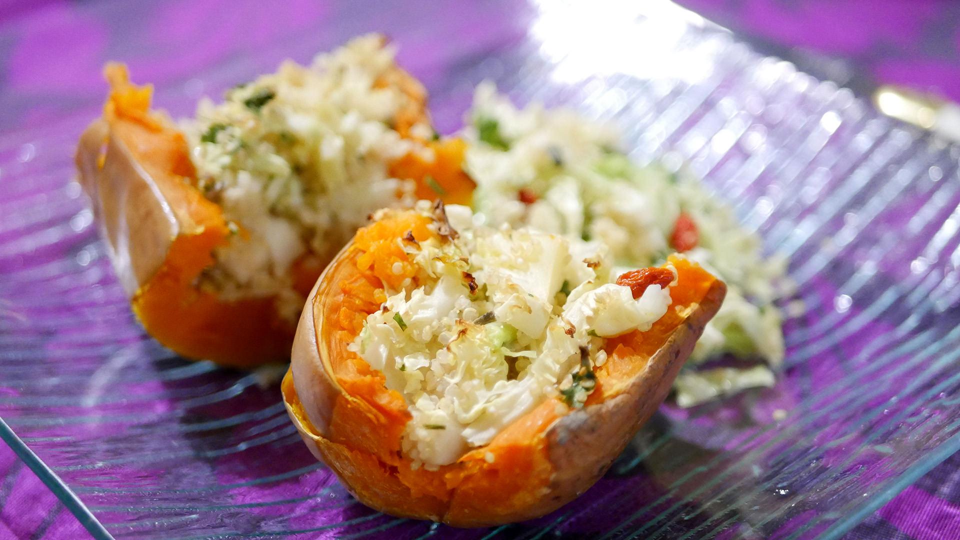 Courge butternut fourrée quinoa légumes