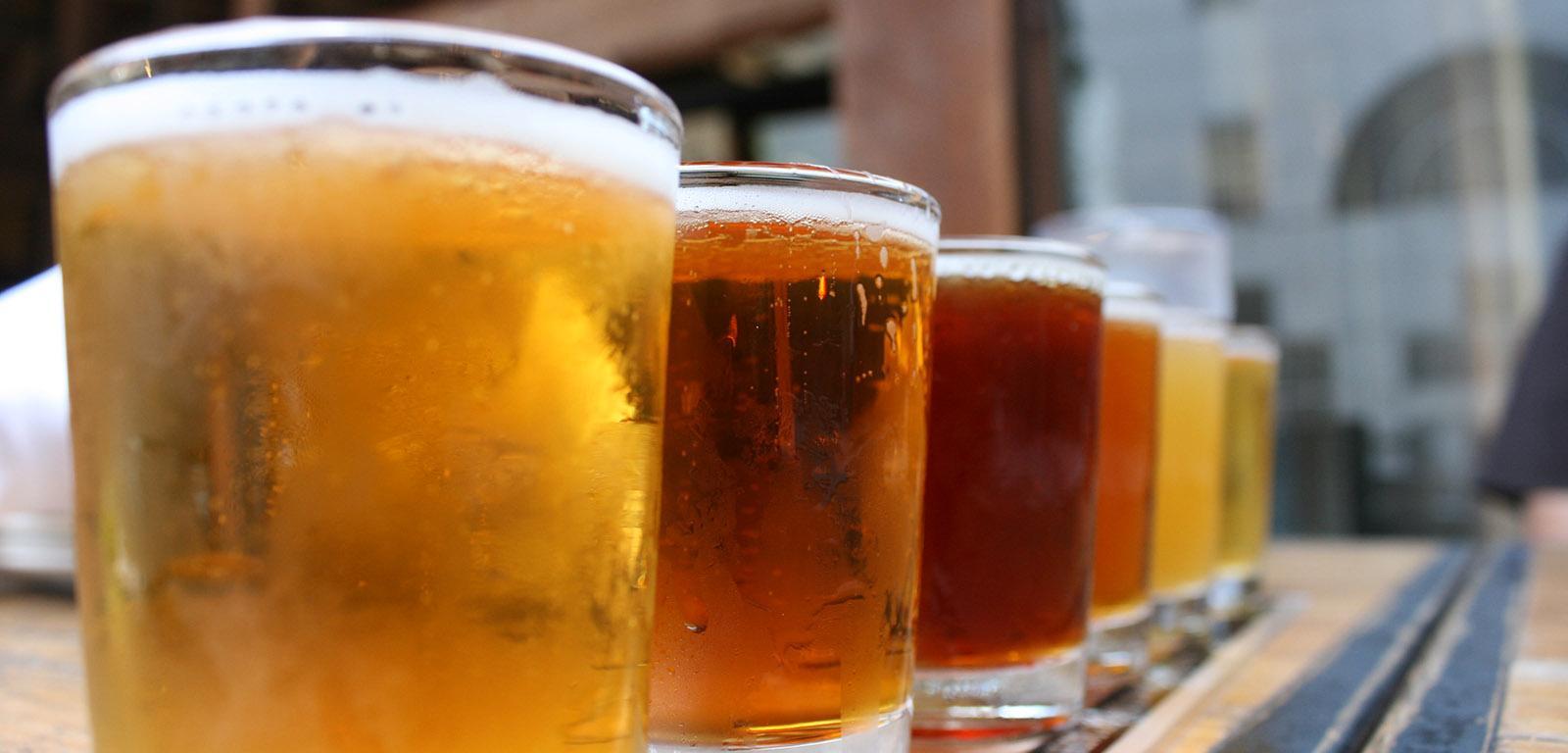 Alcool - Des pintes de bière alignées