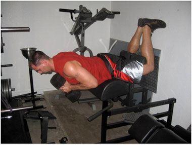 Extension lombaires à deux jambes genoux fléchis